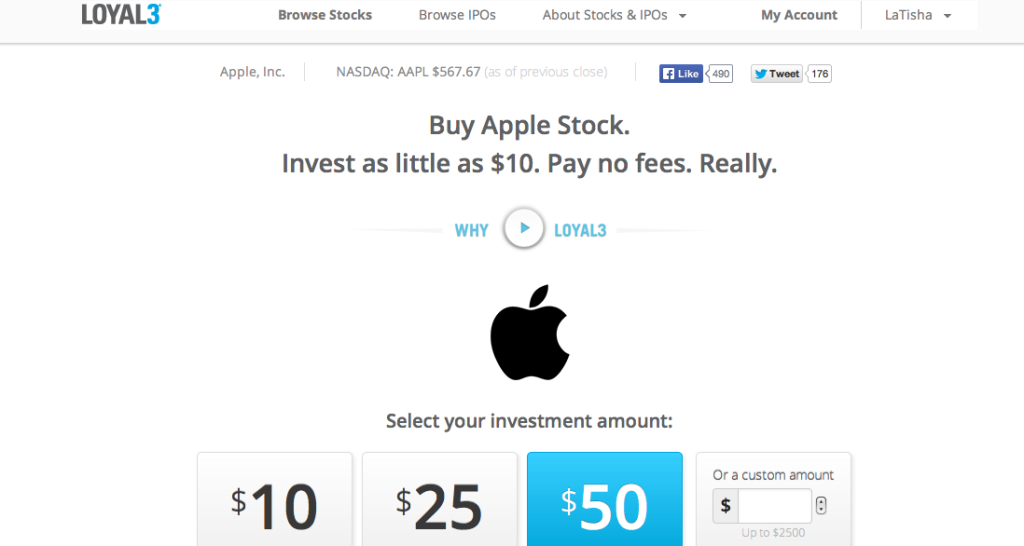 buy apple stock with Loyal3