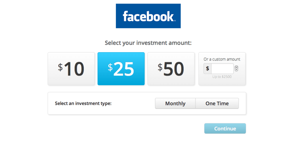 select amount to invest in Facebook